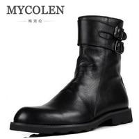 MYCOLEN Mens Tactical Military Boots Luxury Fashion Round Toe Zipper Combat Desert Boots Comfortable Leather Work Men Shoes