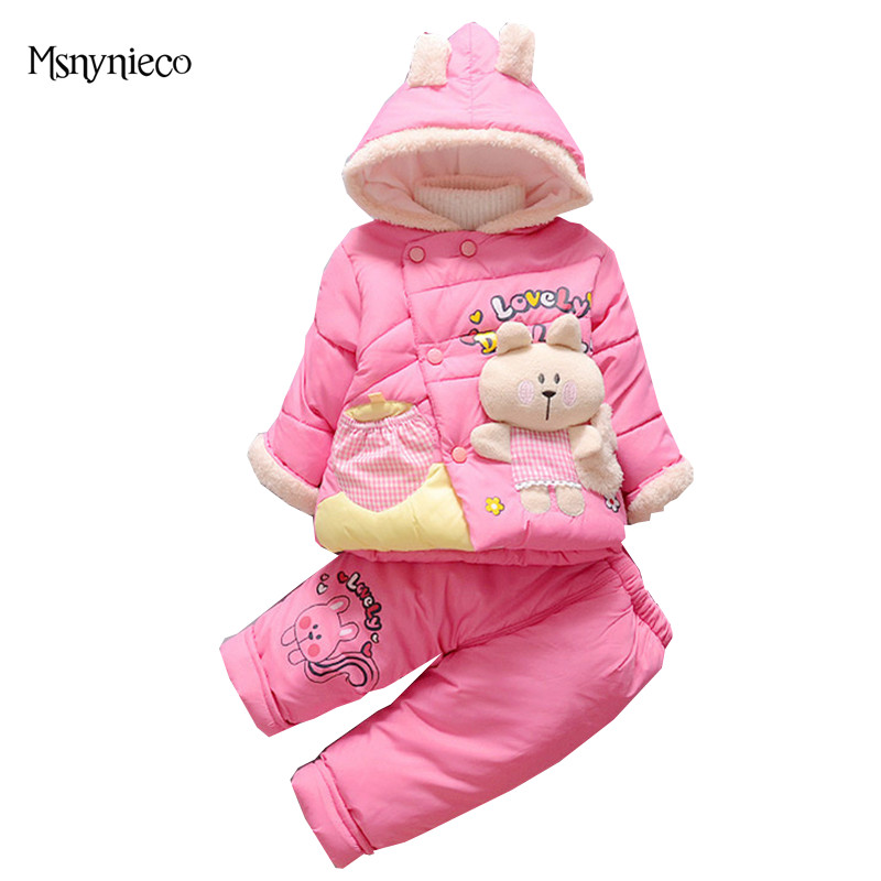 Winter Baby Girl Clothes Sets Children Clothing 2017 Fashion 2pcs Kids Suit Infant Toddler Warm Cartoon Cotton Jackets+Pants he hello enjoy baby girl clothes sets autumn winter long sleeved cartoon thick warm jacket skirt pants 2pcs suit baby clothing