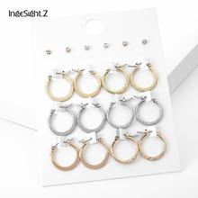 IngeSight.Z 9 Pairs/Set Punk Small Hoop Earrings Statement Minimalist Geometric Round Circle Set for Women Ear Jewelry