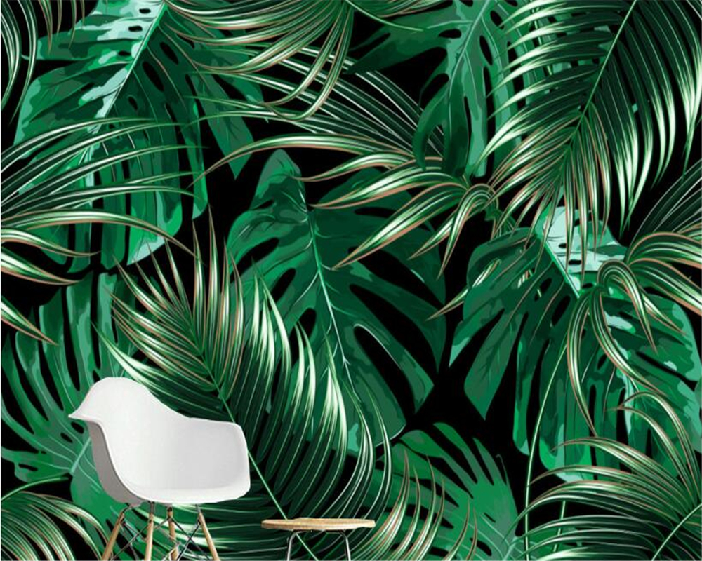 US $8 85 41% OFF|beibehang European minimalist tropical plant banana leaf  photo wallpaper background wall painting wallpapers for living room-in