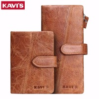 KAVIS Men Purse Famous Luxury Brand Mens Wallet Casual Male Wallet Genuine Leather Brand Vintage Long