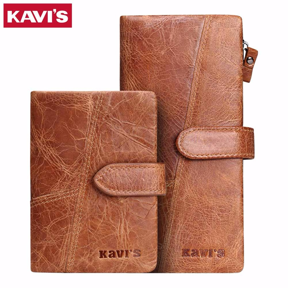 KAVIS Luxury Brand Wallet Men Casual Male Cuzdan Coin Purse Genuine Leather Vintage Walet Long Clutch Wrist Bag PORTFOLIO Handy kavis new genuine leather men wallets vintage coin purse luxury brand bifold portfolio rfid fashion magic vallet male cuzdan