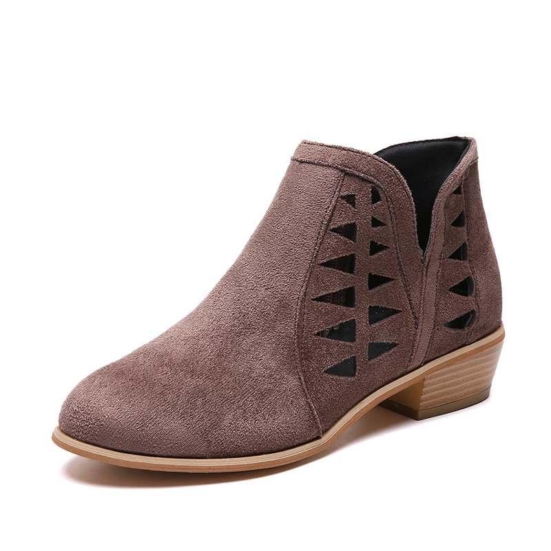 Rimocy 2019 spring hollow out single shoes woman faux suede round toe square heels pumps women 4cm med heels casual shoes femme 35