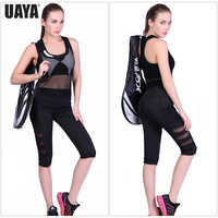 UAYA New Women Black Mesh  Yoga Pants Calf-length Pants Capri Pant Yoga Gym High Waist Legging Girl Sport Leggings Women Fitness