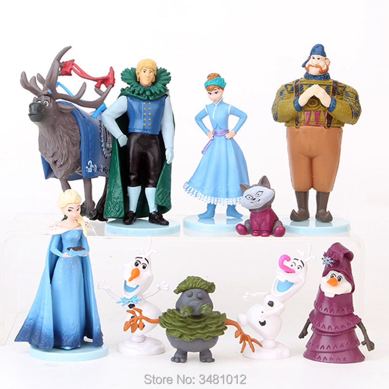 Snow Queen Elsa Anna Princess Miniature PVC Action Figures Olaf Kristoff Sven Anime <font><b>Dolls</b></font> Figurines Kids Toys for Children Girls image