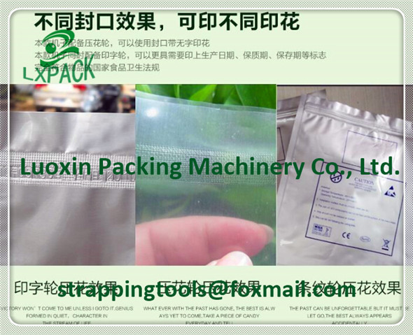 LX-PACK continuous plastic bag aluminium heat sealing machine automatic plastic film band sealer press date code english letter automatic continuous plastic film sealing machine for food cosmetic potato chips dbf 1000 110v 60hz