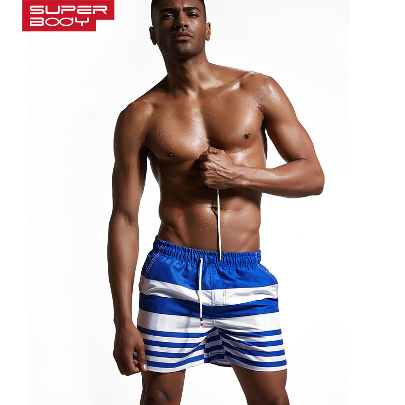 New SUPERBODY summer male shorts large size beach Board seaside holiday travel quick drying young men 39 s striped Board Shorts in Board Shorts from Men 39 s Clothing