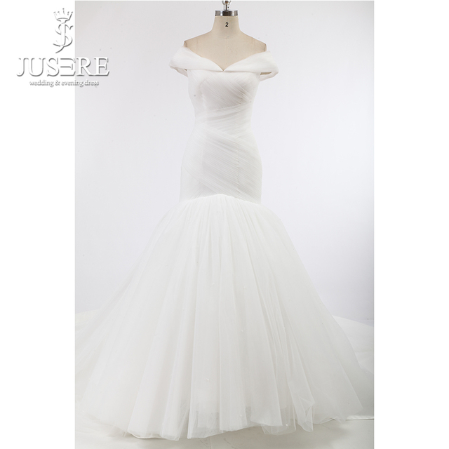 04d0971494b8 Cap Sleeves Crisscorss Mermaid Tulle Layers Lace up Back Chapel Train Snow  White Pure Full Body Pleated Wedding Dresses 2018