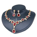 Red Green Black Zircon Necklace Earrings Set Wedding Bridal Party  Gold Plated Jewelry Sets Fashion African Women