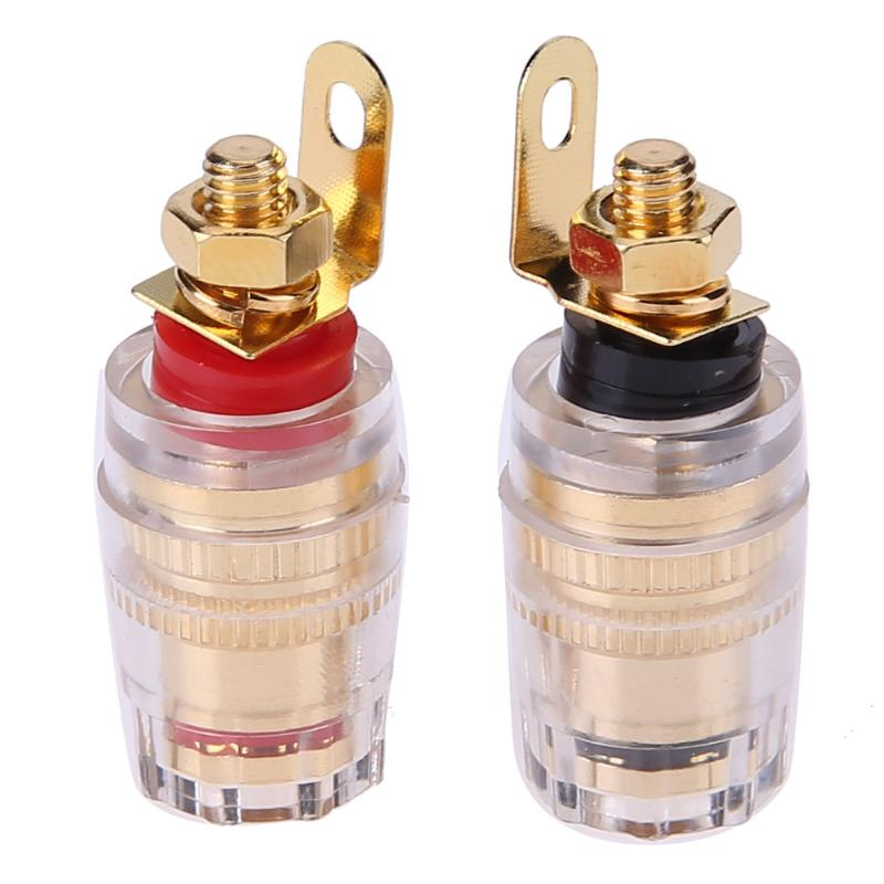 Alloyseed 2pcs 4mm Gold-plated Brass Speaker Binding Posts Audio Terminals For Banana Plugs