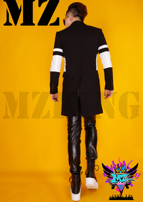 S-4XL ! Male singer Brushed black white wool coat hit color windbreaker officiating performances costumes stage clothes cothing