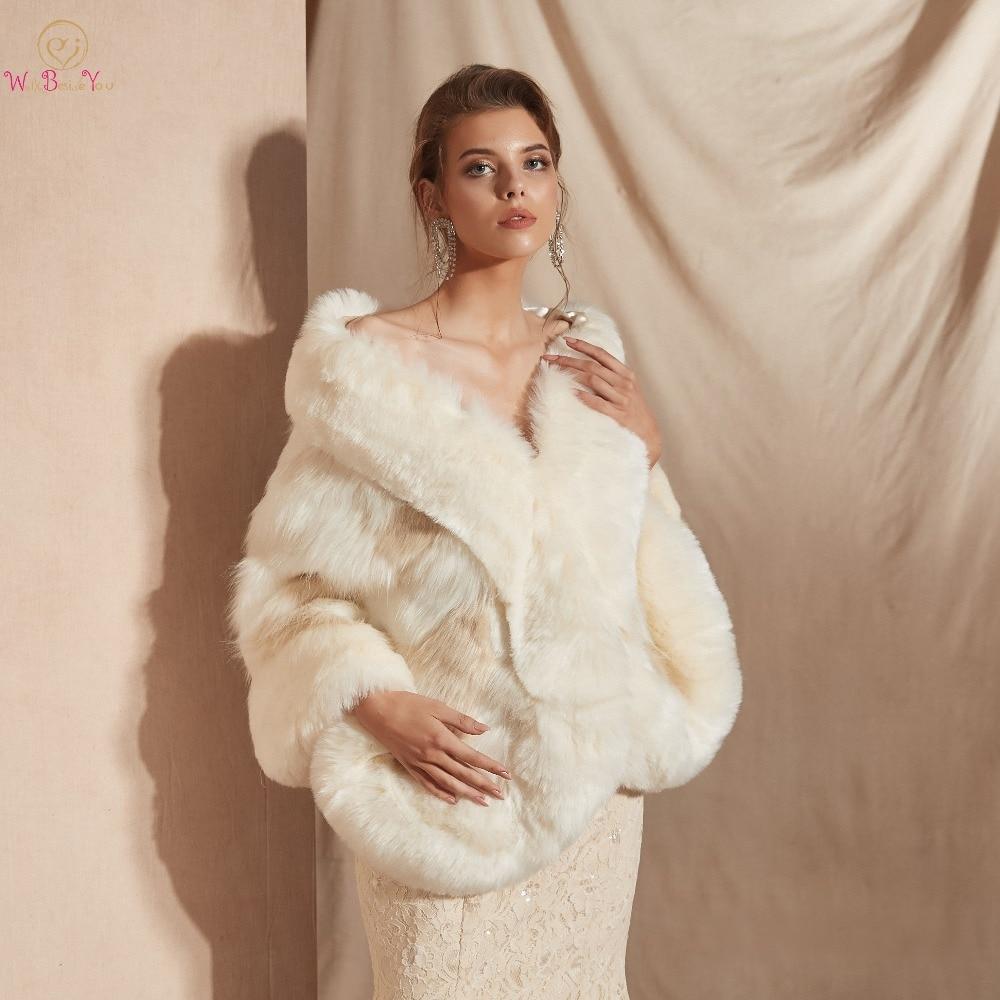 Zielsetzung Warm Hochzeit Bolero Faux Pelz Champagner Schal Braut Wrap Frauen 2019 Winter Mantel Chaqueta Mujer Cape 100% Echt Fotos Hochzeit Jacken/wrap