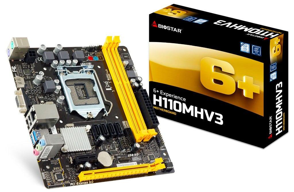 Pieno nuovo Biostar H110MHV3 H110 Chipset LGA 1151 Desktop di Scheda Madre del PC Micro-ATXPieno nuovo Biostar H110MHV3 H110 Chipset LGA 1151 Desktop di Scheda Madre del PC Micro-ATX