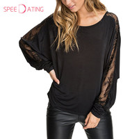 New Arrival Patchwork See Through Plain Batwing Long Sleeve T Shirt Black Decorative Lace Lady T