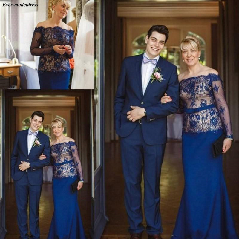 Elegant Royal Blue Mermaid Mother Of The Bride Dresses Long Sleeves Lace Appliques Farsali Wedding Party Gowns 2019