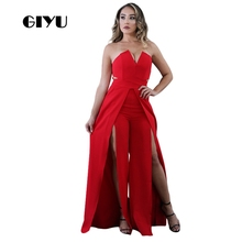 GIYU Solid Split Long Jumpsuits Women Sleeveless V Neck Overalls Sexy Backless High Waist Wide Leg Romper 2019