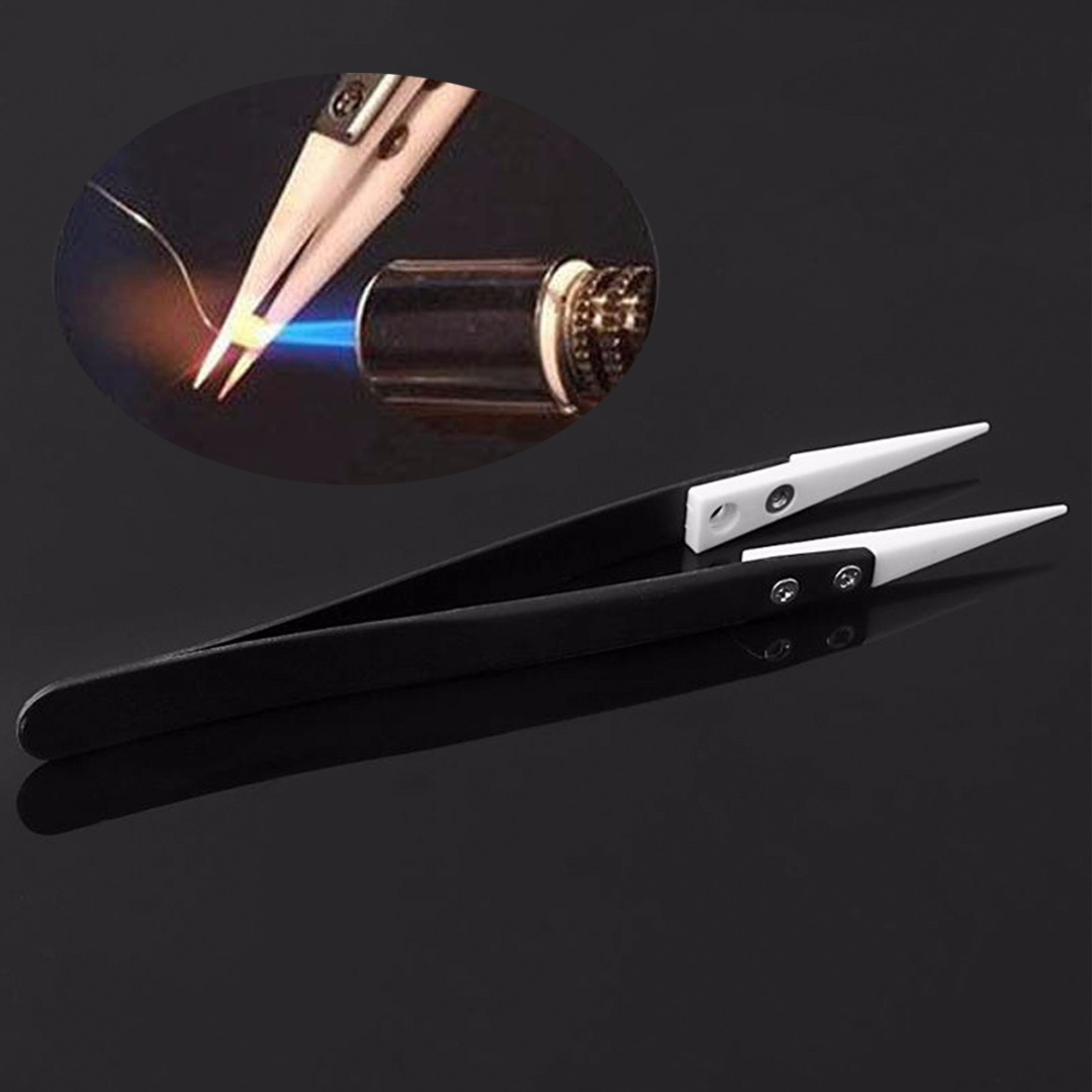1pc New Fine Pointed Tips Stainless Steel Tweezer Ceramic Tipped 130x10mm For Electronic Equipment