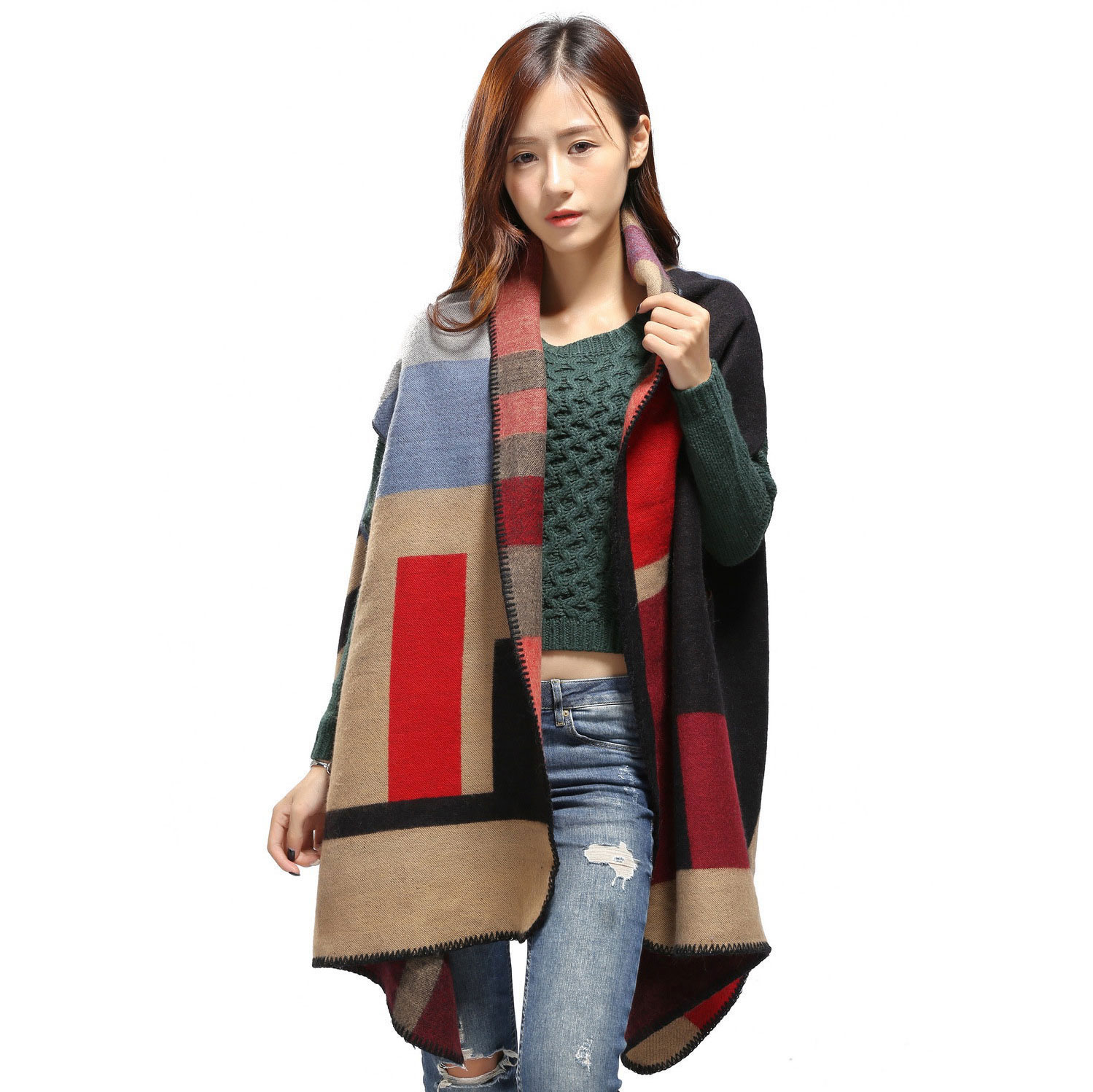 Street Snap 2017 Winter Runway Shawls Womens Plaid Woolen Cape Poncho Jacket Lady Warm Oversized Cardigan Cloak Coat