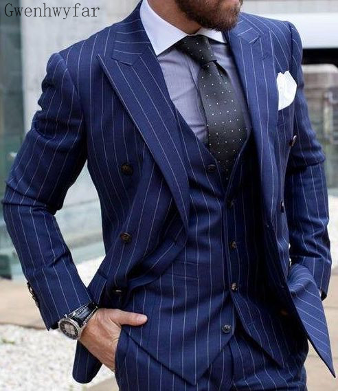 Gwenhwyfar 2019 New Men's Fashion Boutique Plaid Wedding Dress Suit Three-piece Male Formal Business Casual Suits Wedding suits