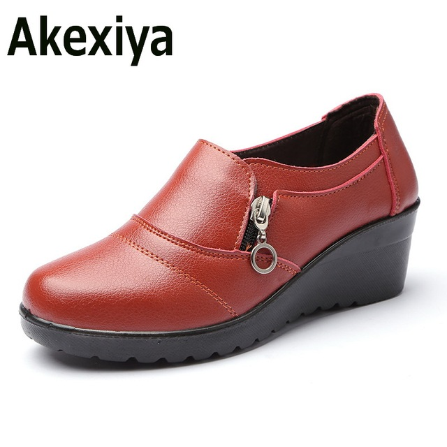 Akexiya Women Ankle Boots 2017 New Autumn Soft PU Leather Platform Shoes Woman Zip Low Wedges Shoes Size Plus 35-41