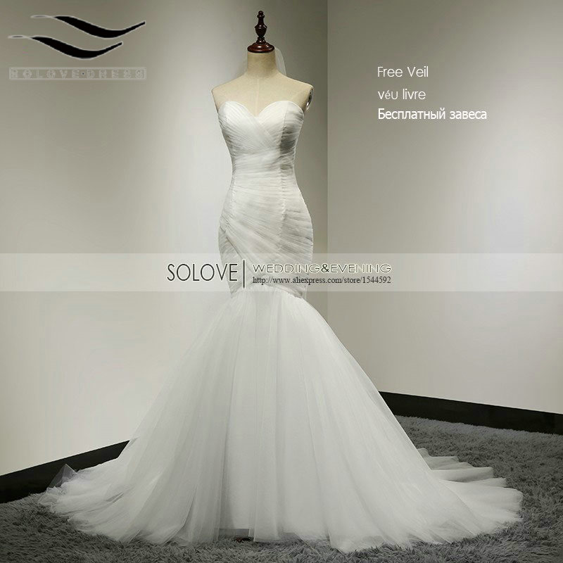 Cheap Elegant Mermaid Wedding Dress 2016 Sweetheart Bridal Gown Tulle Wedding Dress White Bridal Dress Vestido