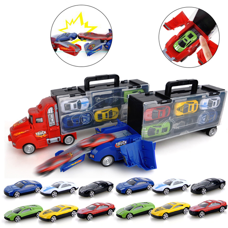 Children's toy catapult battle container truck storage box 12 sliding small alloy car model toy birthday gift holiday gift