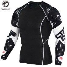 Футболка с 3D принтом волка, компрессионные колготки для мужчин, футболка для фитнеса, бега, дышащая спортивная одежда с длинным рукавом, Рашгард, спортивная одежда для велоспорта