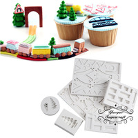 Yueyue Sugarcraft 6pcs train track Silicone mold fondant mold cake decorating tools chocolate gumpaste mold