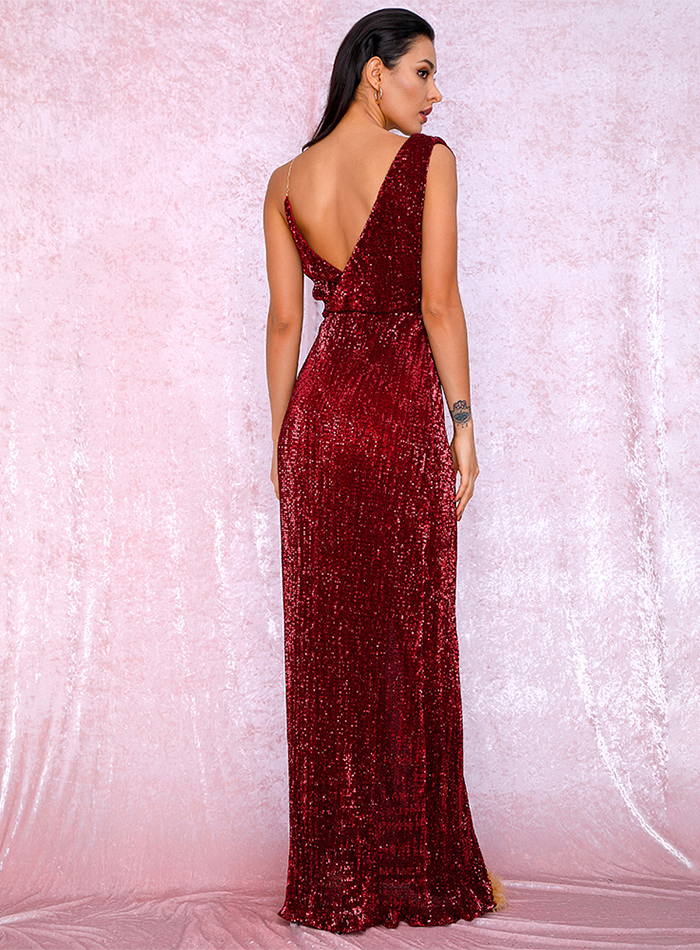 Sleeveless Red Floor Length Elegant Evening Dress 7