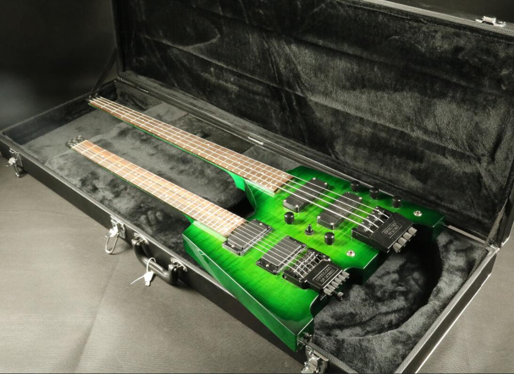 High Quality double neck headless electric guitar Guitarra bass guitar double neck headless bass guitar