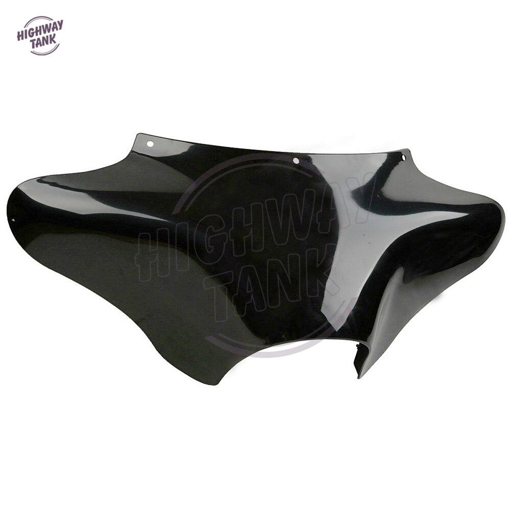 鮮やかな黒オートバイフロントアウターバットウィングフェアリングケース用ハーレーロードキングFLHRソフテイルダイナバットウィングデセグンダマノ