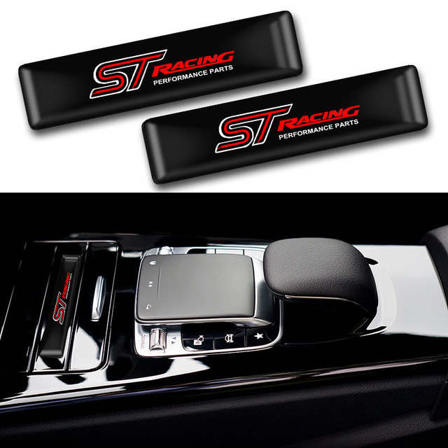 10pcs Car styling ST Logo Protective bar Stickers Styling Car Emblem Badge Auto Exterior Decal Sticker for Ford Focus ST Mondeo