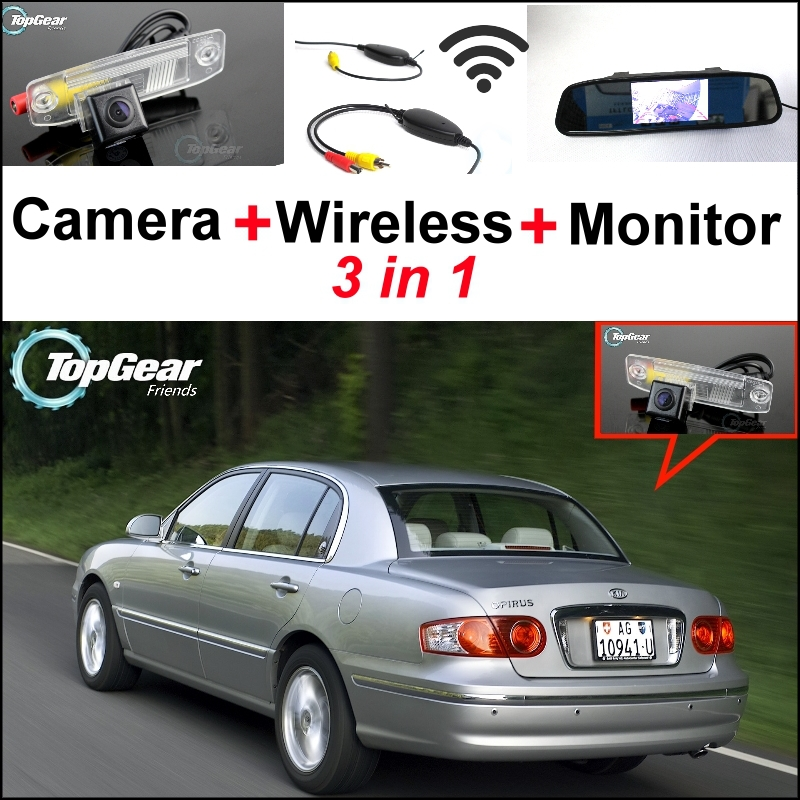 3 in1 Special Camera + Wireless Receiver + Mirror Monitor Easy DIY Back Up Parking System For KIA Opirus Amanti 2002~2011
