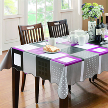 Simple Plaid Waterproof PVC Plastic Tablecloth For Table Tea Oilproof Fabric Retangle Hotel & Home Decor Cover