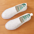 Free shipping black and white summer shoes a pedal flat canvas casual shoes breathable white