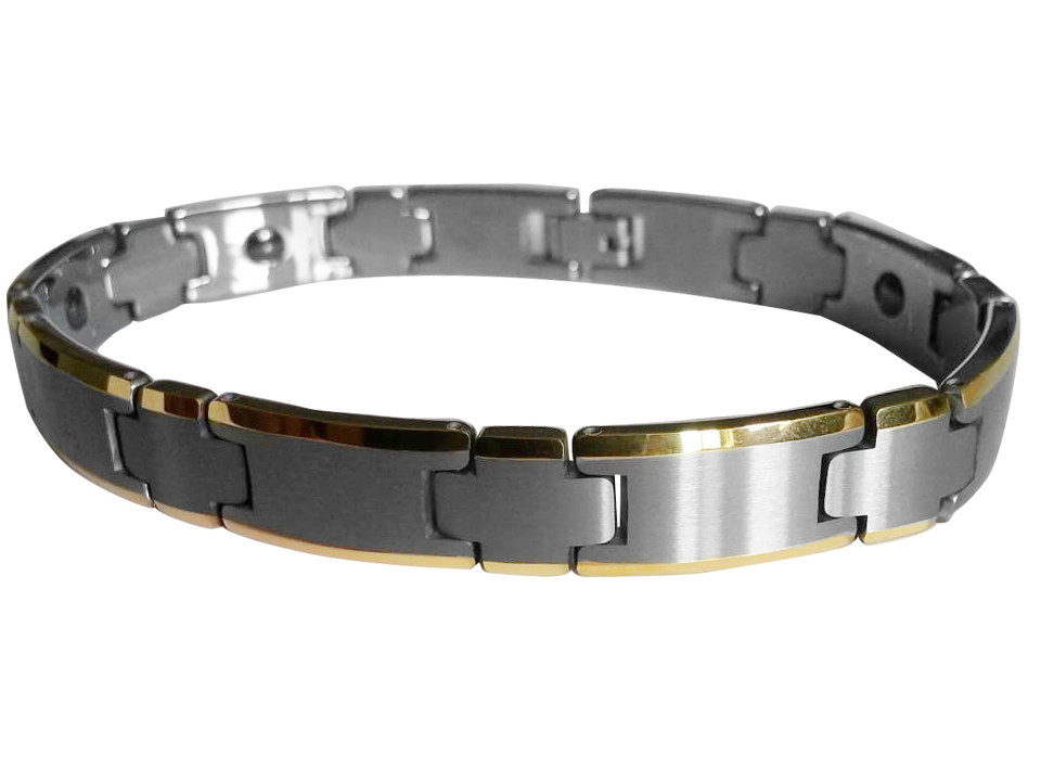Xmas Gift For men Tungsten Carbide with Gold plating and Brushed Bracelets /TUBR1018