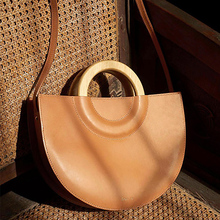 Wooden Handle Halfmoon Women Handbags Casual Crossbody Bags For Women Large Capacity Shoulder Bag Lady Handbag Clutch Purse 2019 lady clutch large capacity forever young wallet long simple women shoulder crossbody bag handbags card holder birthday bags