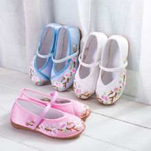 Children Lilttle Girls Canvas Flat Embroidery Slip-On Shoes For Teens Girls White Bue Pink School Ballet Dance Shoes shoe New