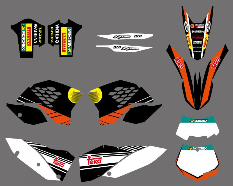 NEW TEAM <font><b>GRAPHICS</b></font> DECALS STICKERS WITH MATCHING BACKGROUNDS FIT FOR <font><b>KTM</b></font> SX SXF XC XCW <font><b>EXC</b></font> Series <font><b>2008</b></font> 2009 2010 2011 image