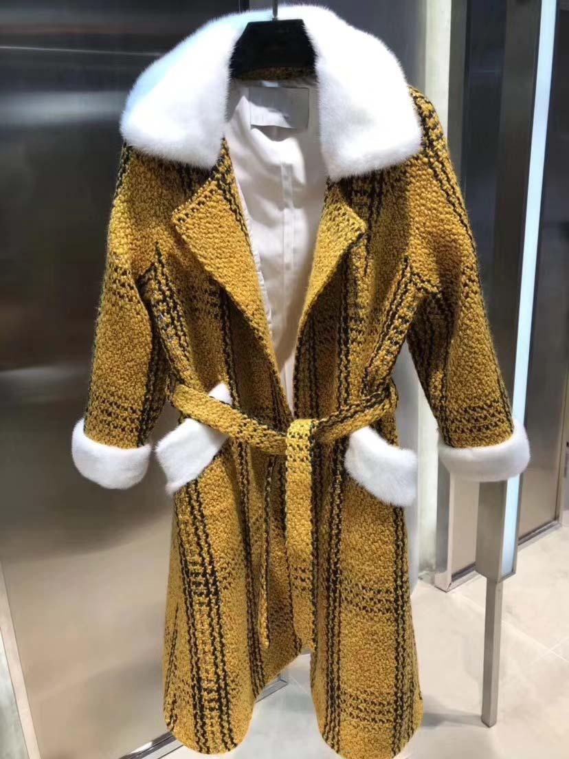 d4775a5d9 De alta calidad de lana abrigo de piel de visón decoración collar manteau  increíble silm abrigo ...