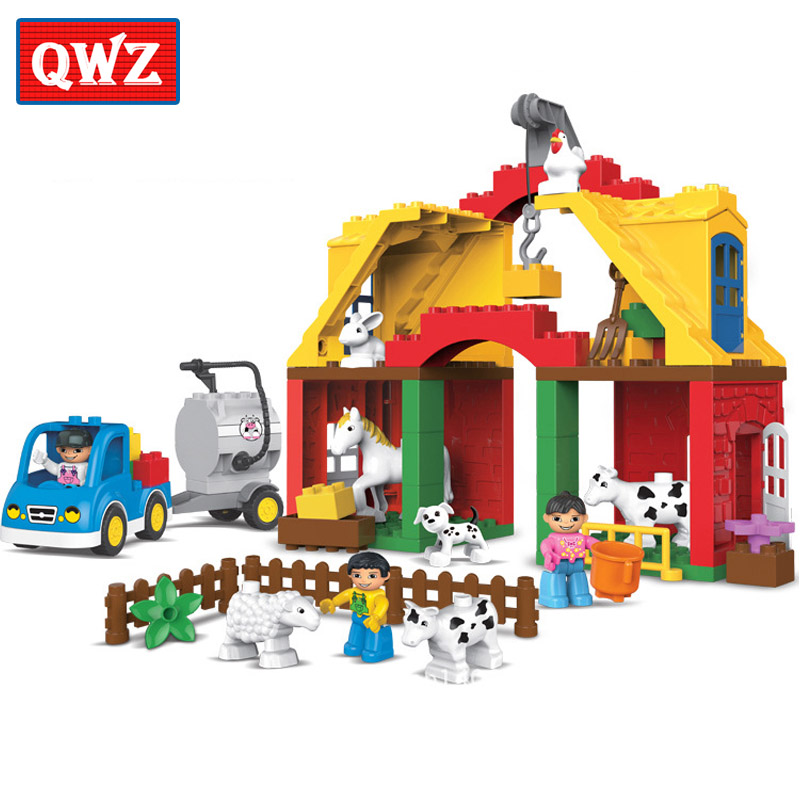 QWZ 65 pièces grandes particules heureux animaux de la ferme paradis voiture modèle blocs de construction bricolage briques jouets enfants cadeaux