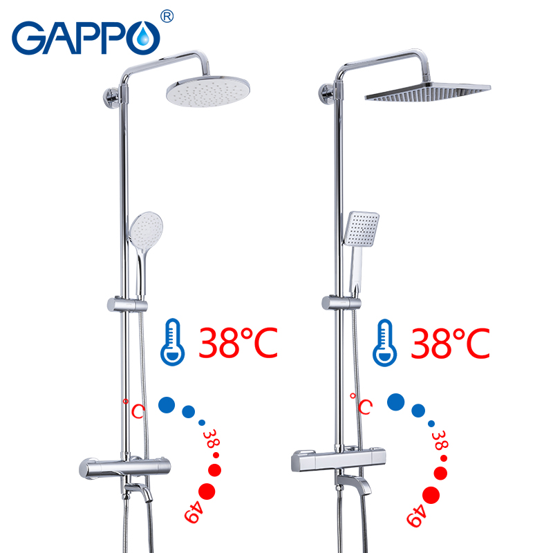 Gappo bath BRASS Thermostatic shower system lift adjustable hot cold water big round head shower High