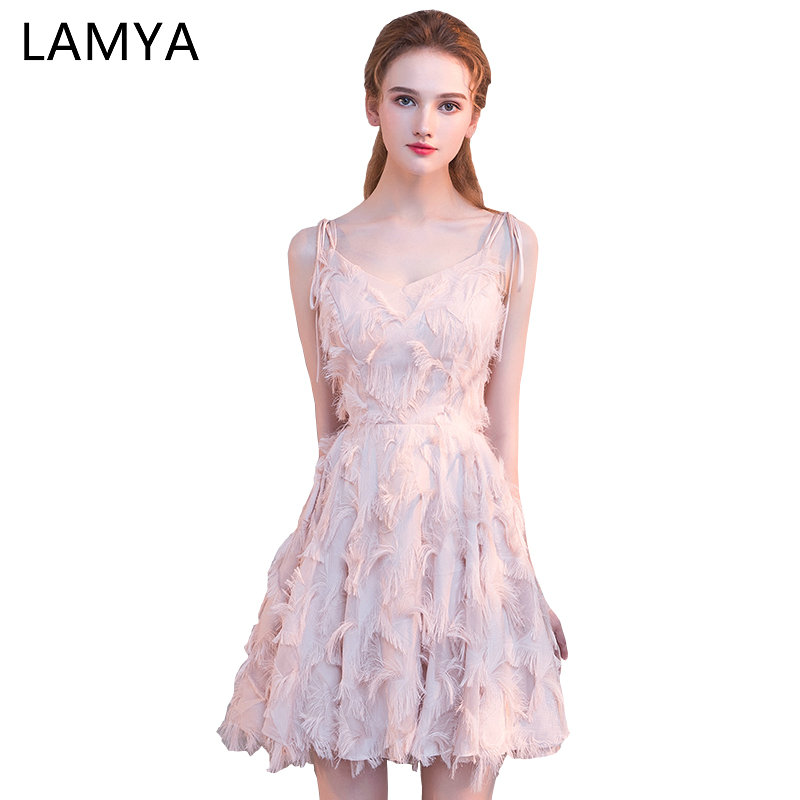 LAMYA Short Simple Spaghetti Strap   Prom     Dresses   2019 Elegant A Line Evening Party   Dress   Plus Size Special Occasion Gowns