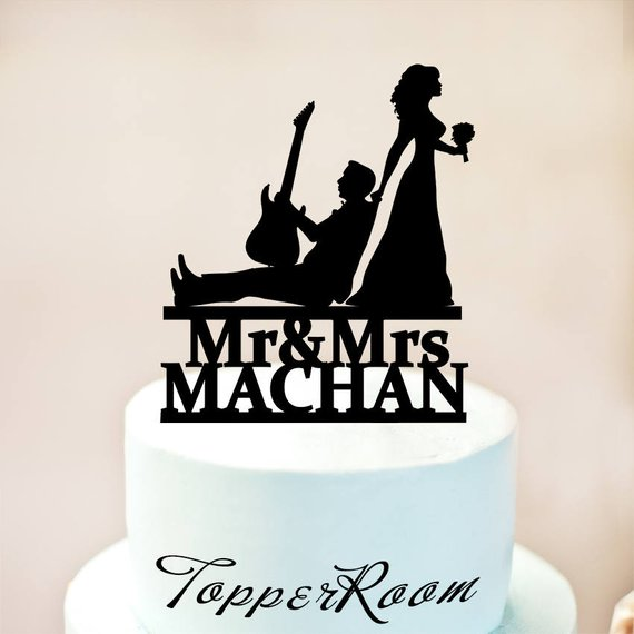 Guitar Player Cake Toppermusician And Bride Silhouettemusician