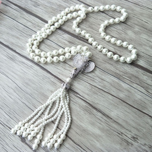 Image 1 - Elephant head charm Pendant CZ zircon crystal Micro pave Connector,Natural Shell Pearl Beads Chain tassels Women Necklace NK220