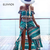 ELSVIOS 2017 Floral Printed Women Long Dress Sexy Side Split Two Piece Dress Summer Off Shoulder