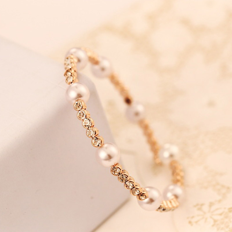Pearl Rhinestone Bangles For Women Pulseira Feminina Bracelets Rose Gold Famous Designer Jewelry Accessories Extravagant Party In From