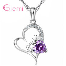Sparkling White/Purple Clear CZ Stones Romantic Heart Lovely 925 Sterling Silver Women Bridal Wedding Pendant Necklace(China)