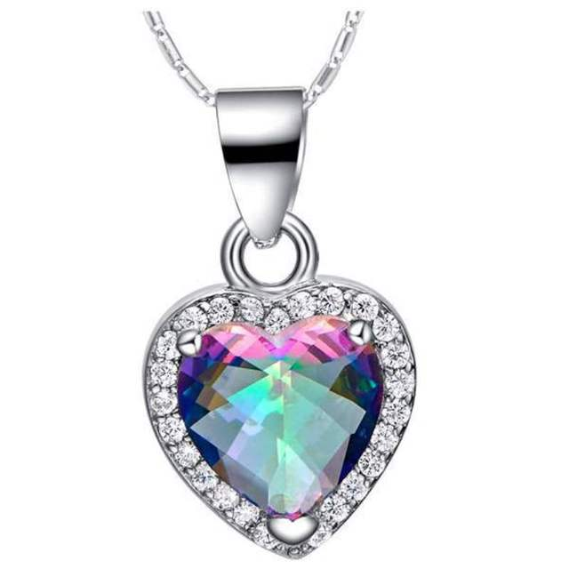 925 sterling silver pendant genuine mystical fire rainbow aaa zircon 925 sterling silver pendant genuine mystical fire rainbow aaa zircon heart pendant fashion vintage brand new aloadofball Images