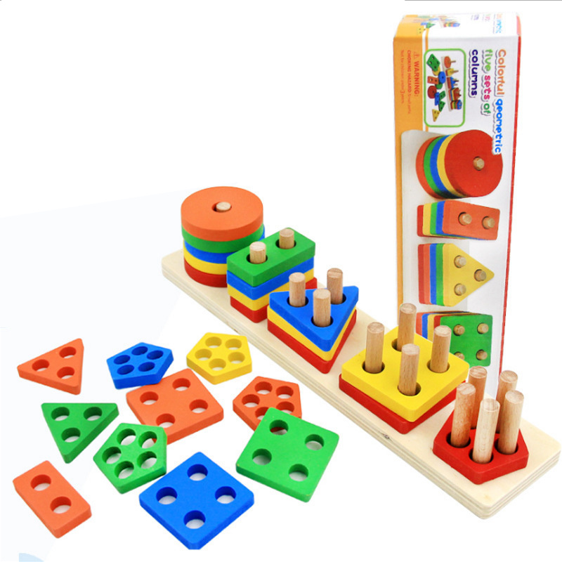 Montessori Children Toys Shape Color Matching Blocks 2 6 18 24 month Early Educational Baby Wooden Puzzle Game for Kids Girls